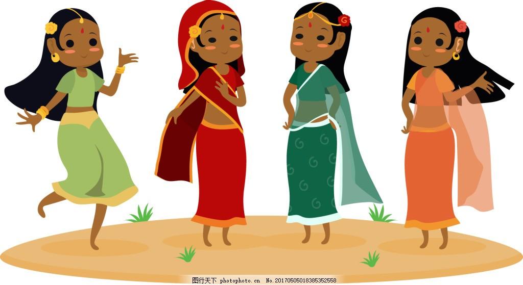卡通傣族美女