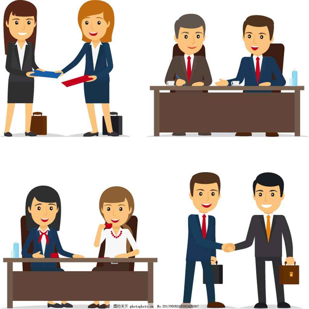 卡通可爱商务职业办公室白领男女人物表情
