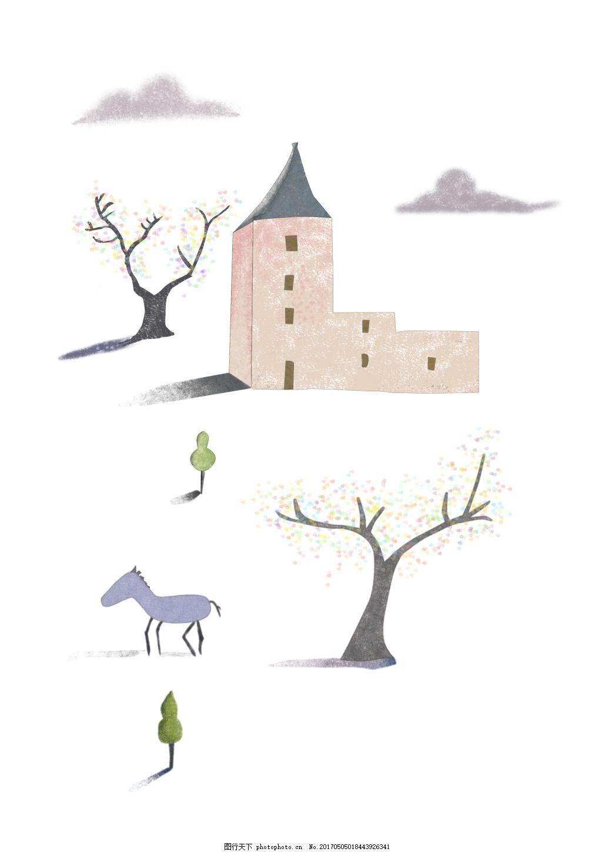 建筑彩铅插画 手绘风格风景插画