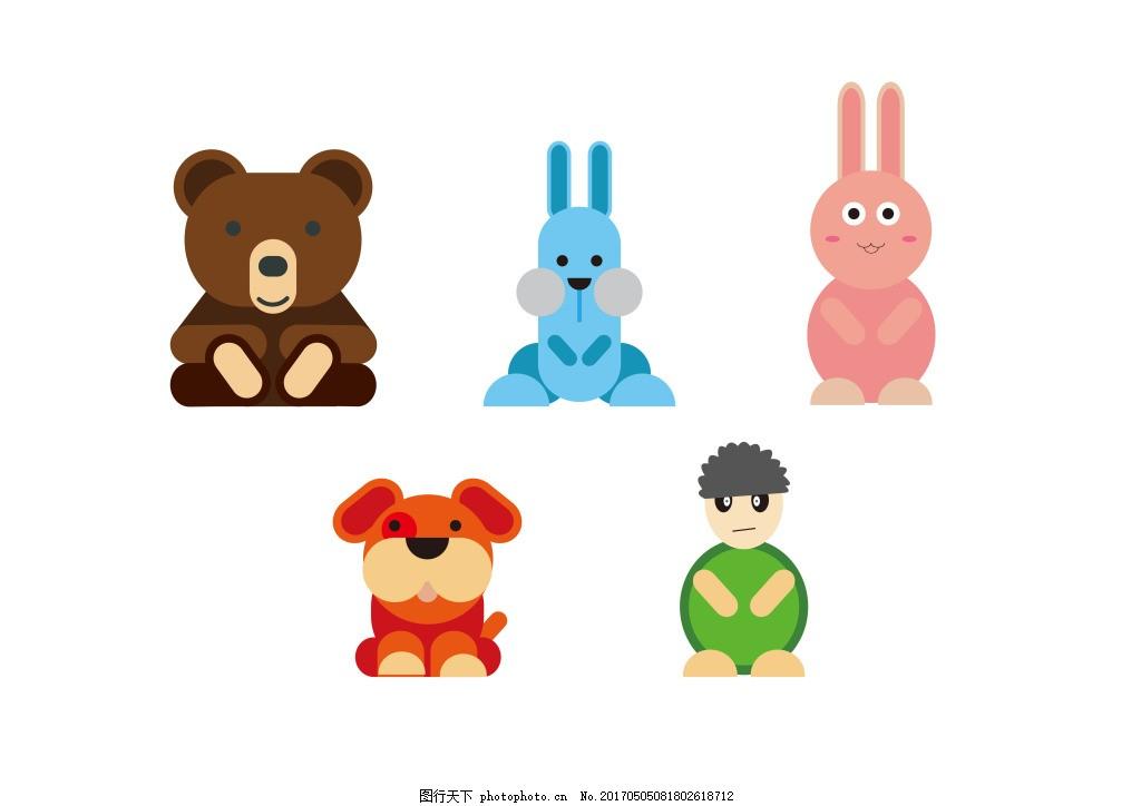 小动物 卡通 插画 可爱 彩色图片