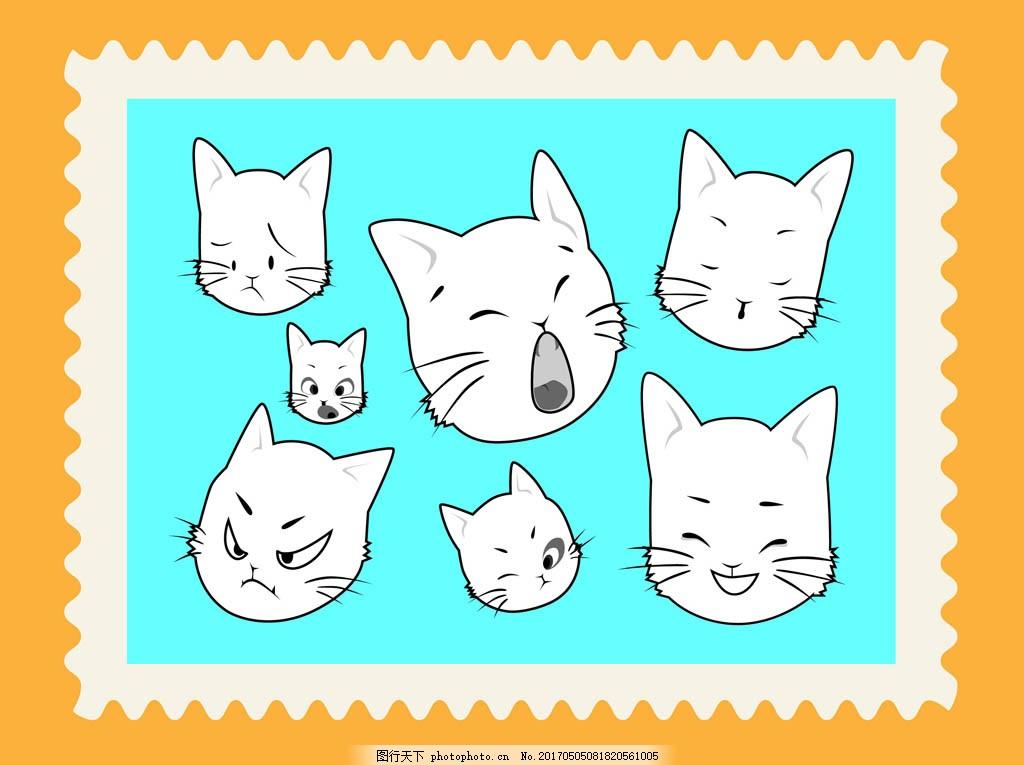手绘卡通可爱猫咪插画
