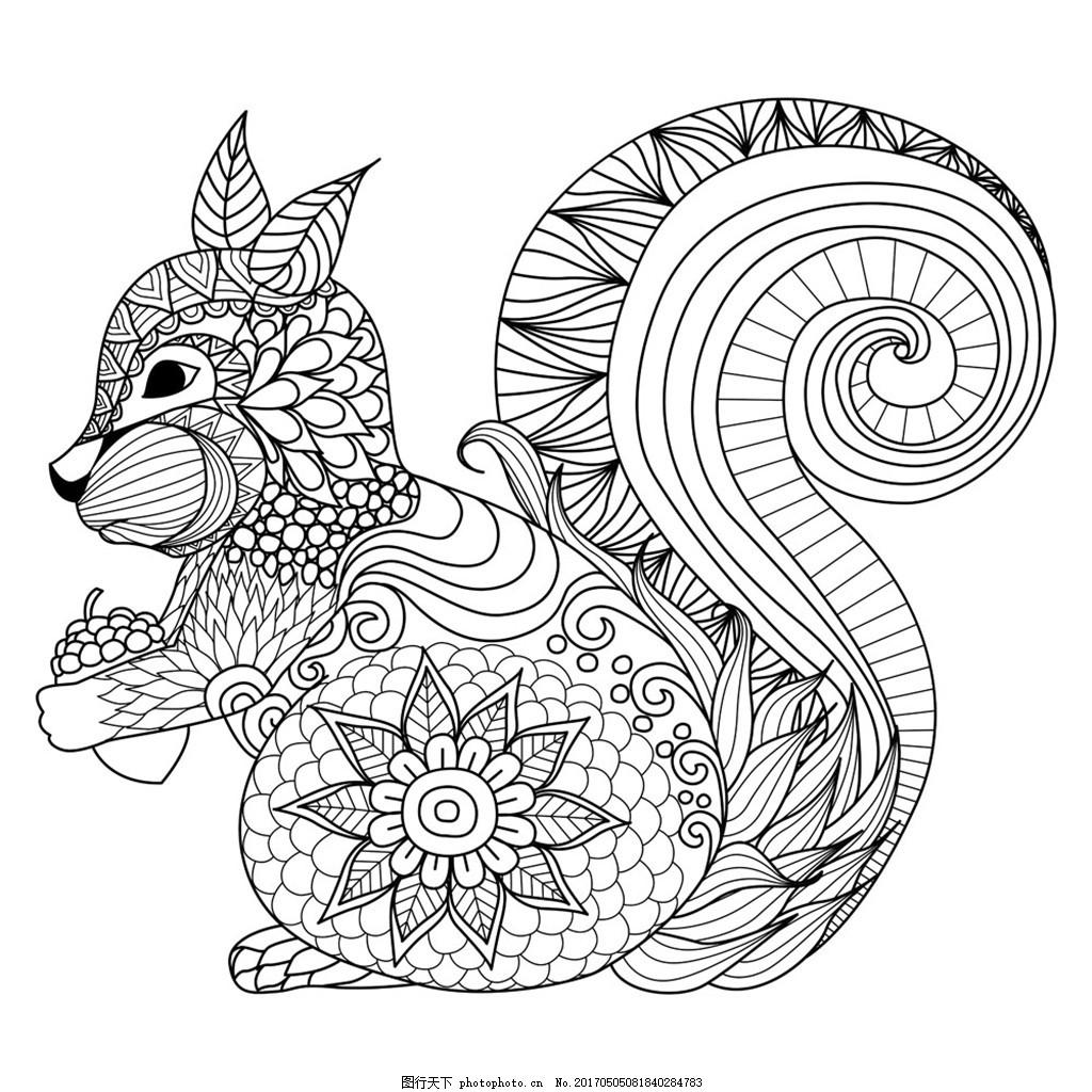 卡通松鼠插画 卡通动物漫画 矢量动物插画 动物插图 线形动物 陆地