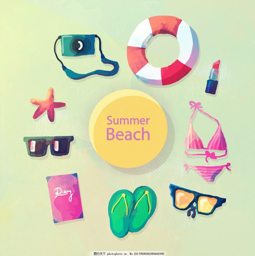 手绘夏天度假用品矢量 相机 夏天 旅行 度假 游泳圈 比基尼 人字拖