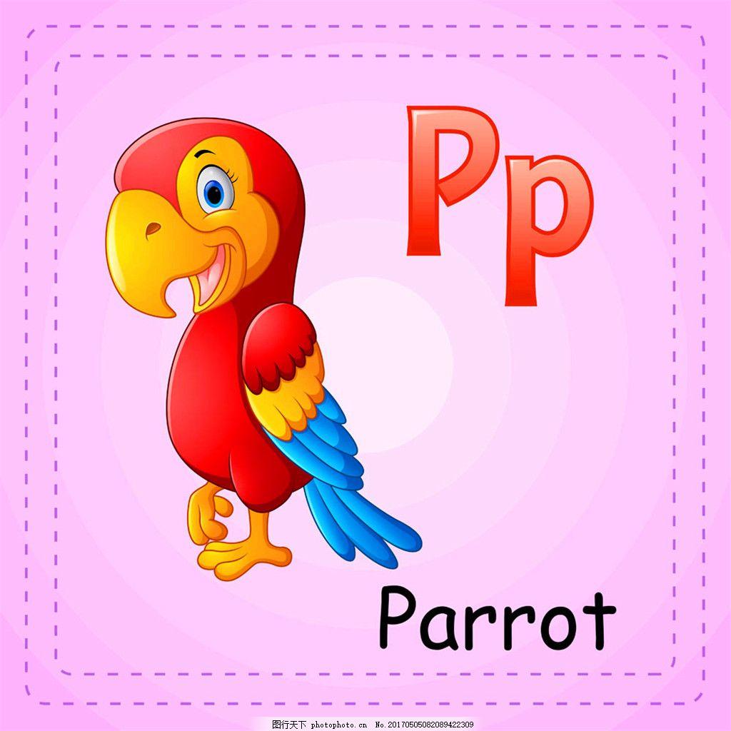 鹦鹉英文单词 鹦鹉英文单词矢量图片 陆地动物 漫画动物 卡通动物