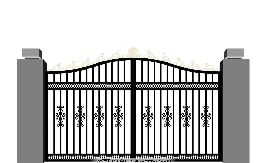 欧式风格 铁艺门 cdr文件 勾图 大门 金色大门 复古大门 围栏 柱子