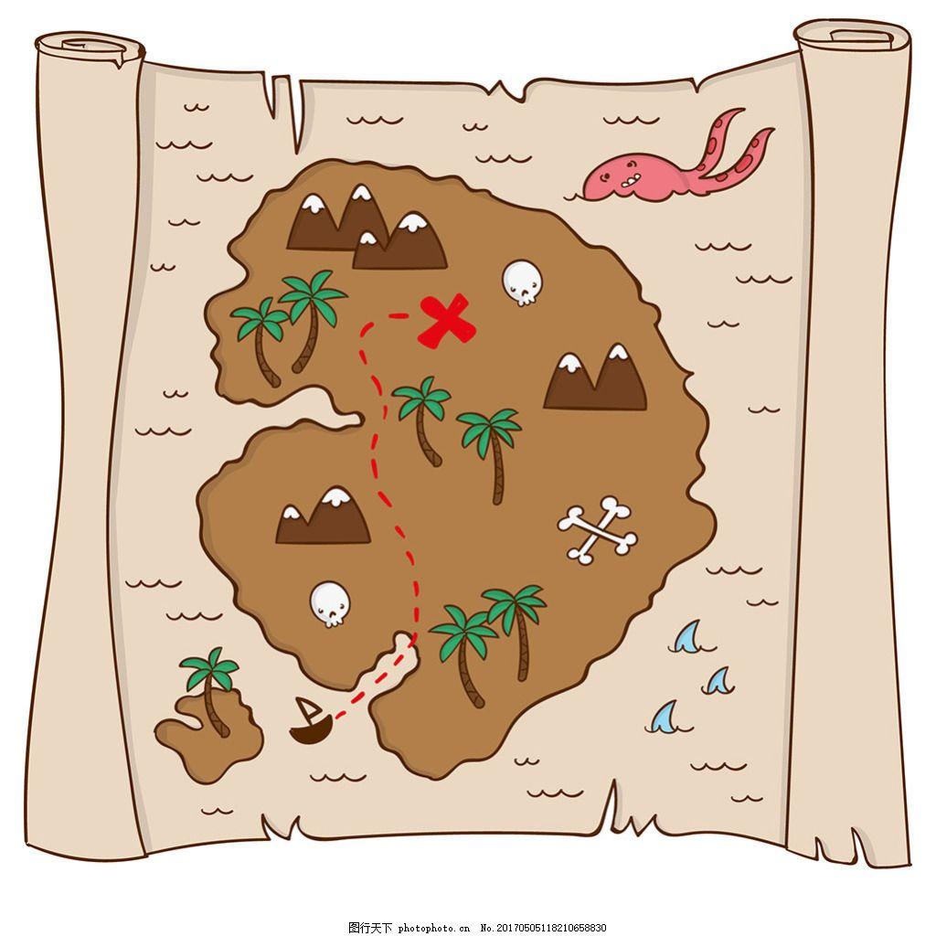手绘羊皮纸宝藏地图背景
