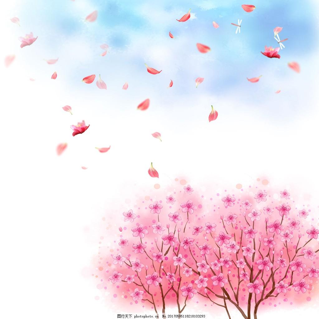 蓝天白云蜻蜓花瓣梅花广告背景素材
