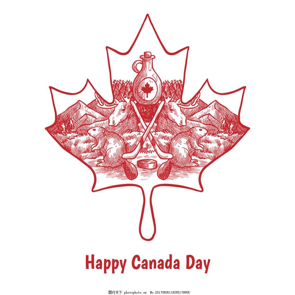 加拿大国庆日手绘枫叶传统元素背景