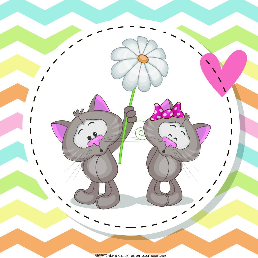 猫咪儿童卡通矢量素材 卡通 猴子 幼儿园 可爱 波纹 背景 动物 儿童