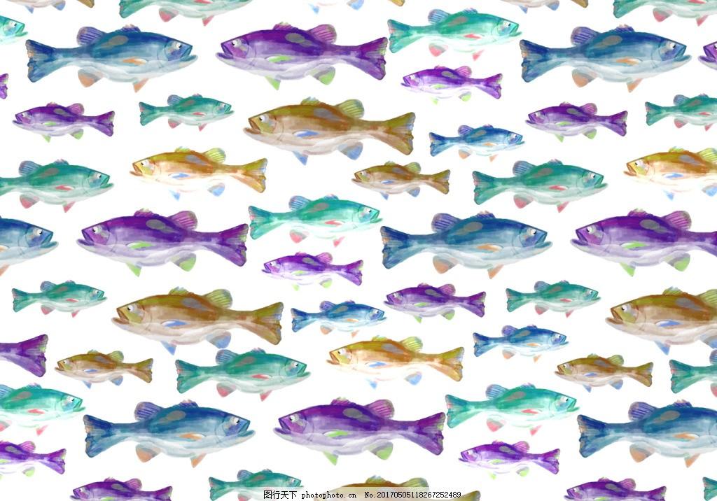 手绘唯美水彩鱼背景素材
