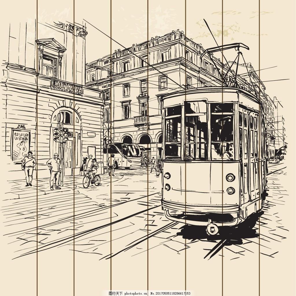 手绘城市街道公交车背景