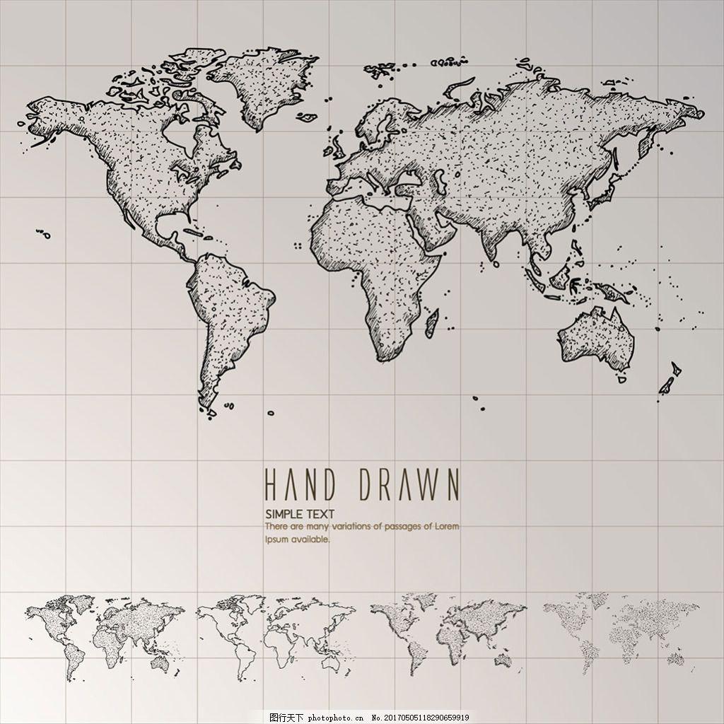 手绘素描风格世界地图