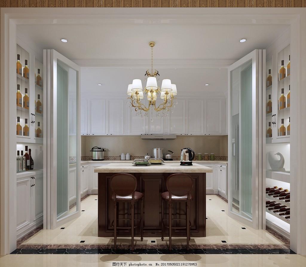 室内 客厅餐厅效果 家装效果图 简约现代 厨房效果图      开放式厨房