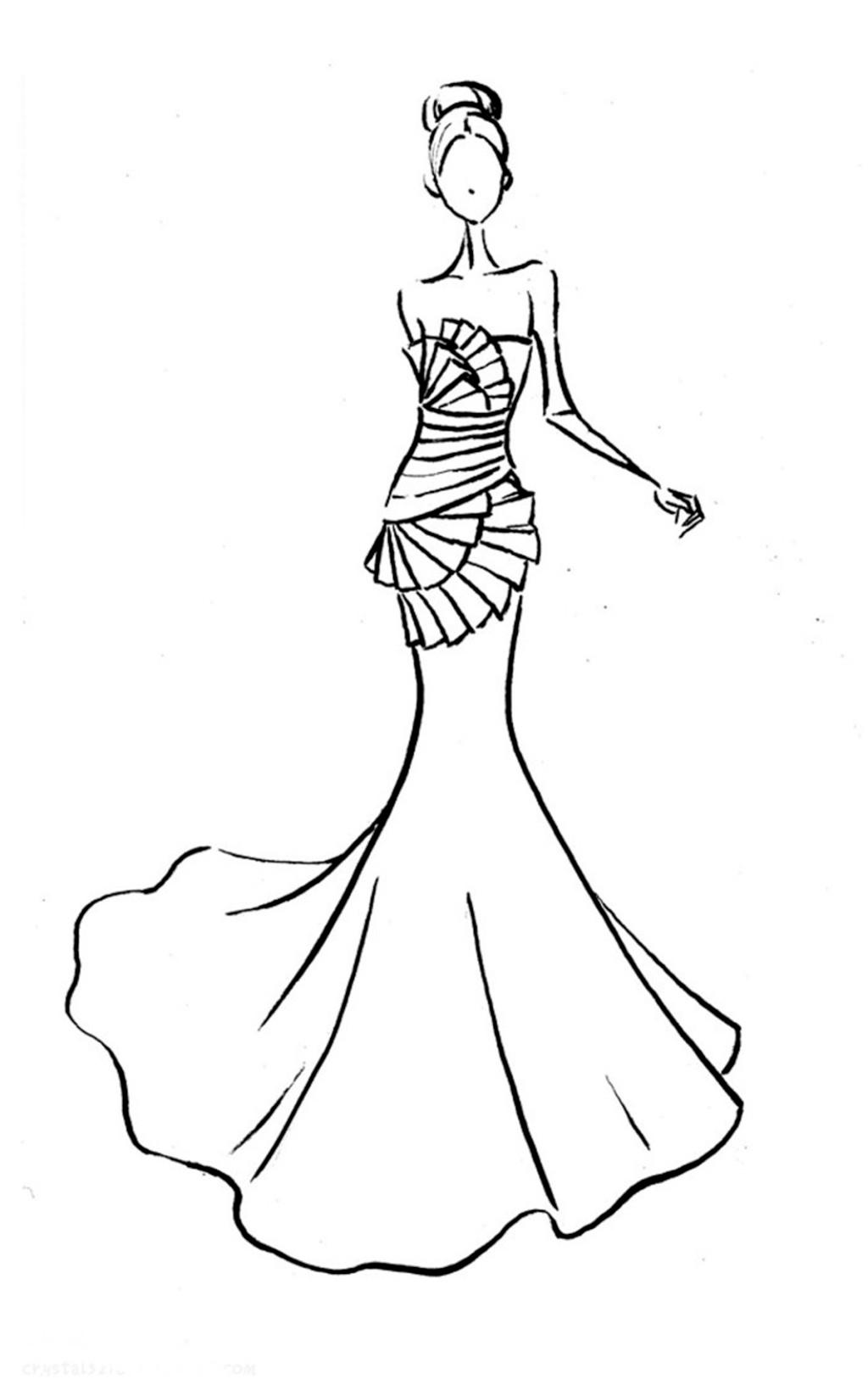 黑白婚纱长裙设计图