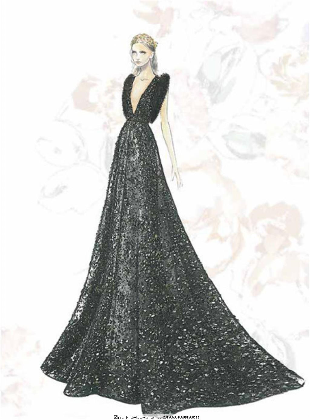 黑色深v礼服设计图
