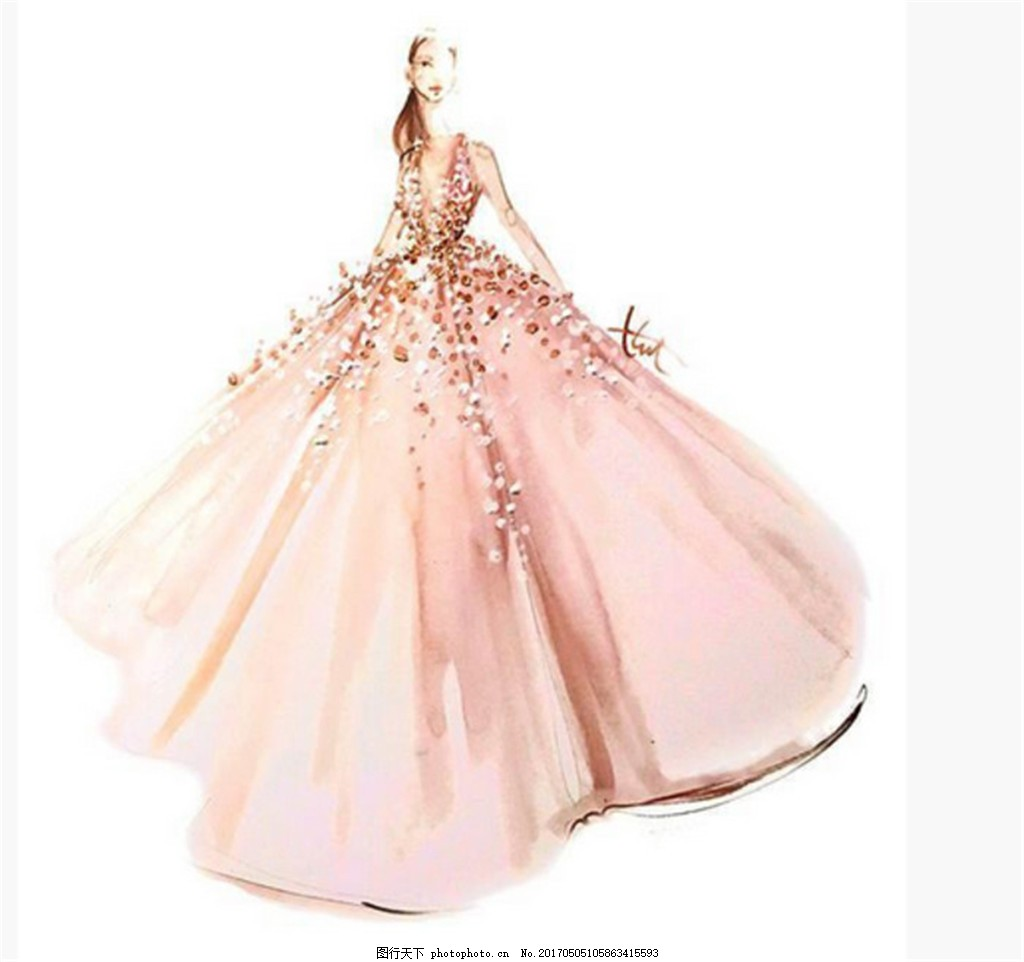 时尚粉色礼服设计图