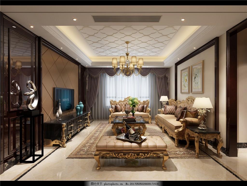 欧式时尚客厅吊顶落地窗设计图 家居 家居生活 室内设计 装修 家具图片