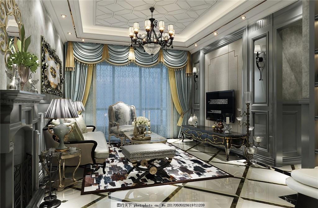 欧式别墅客厅简装效果图 室内设计 家装效果图 欧式装修效果图 时尚