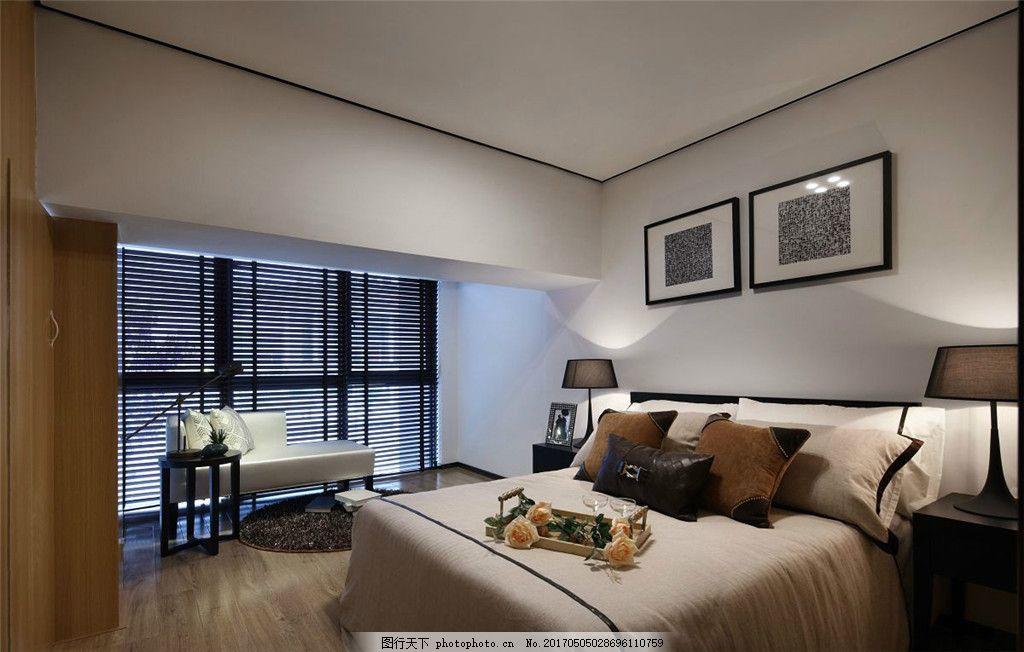 简约卧室大床落地窗设计图