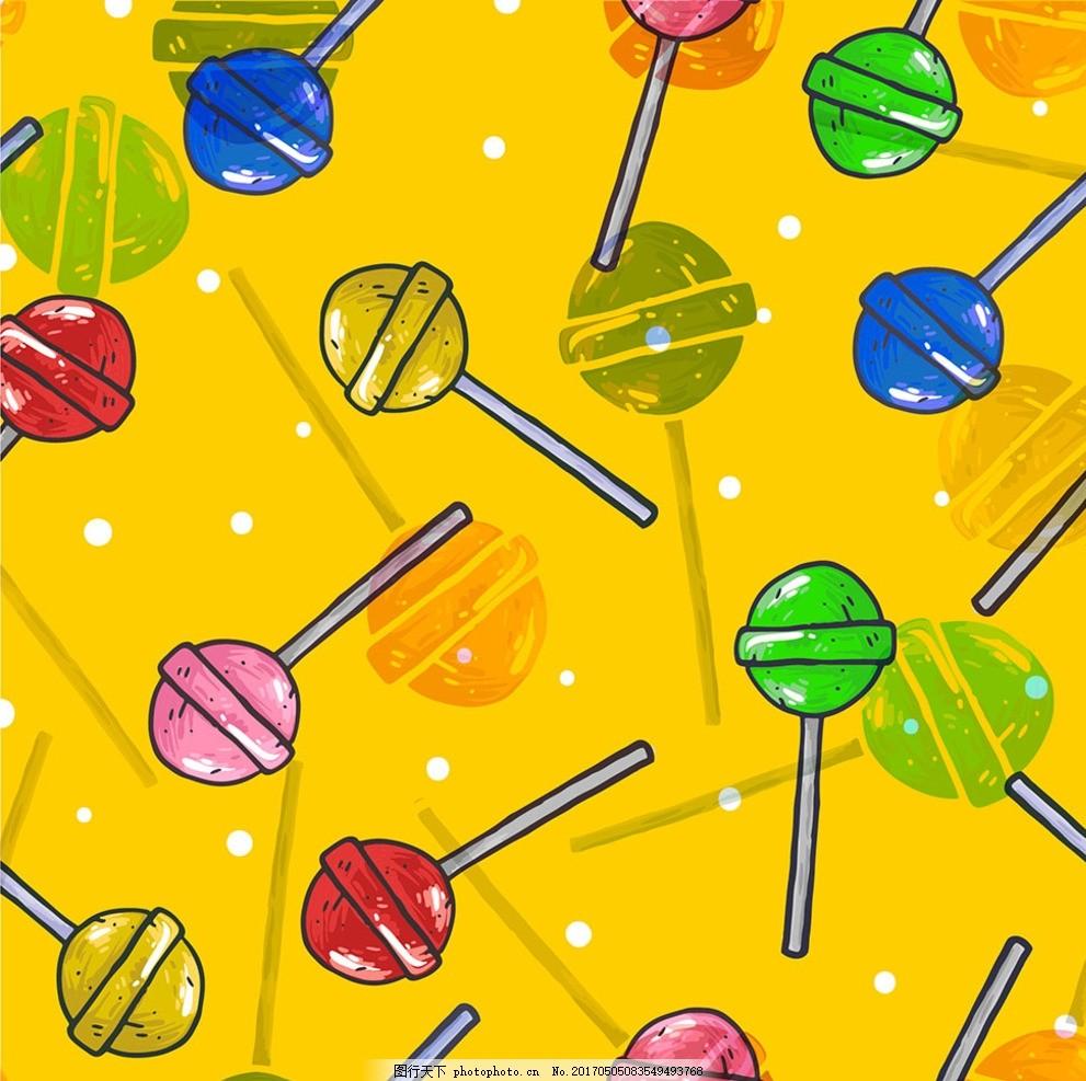 高清ai矢量图流行数码印花图案 卡通 四方回位 棒棒糖 多彩 底纹边框