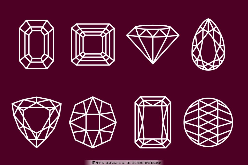 手绘线性钻石