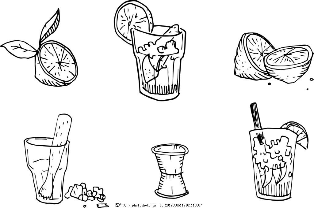 手绘水果饮料 果汁 手绘饮料 矢量素材 手绘果汁 夏季 夏天 杯子