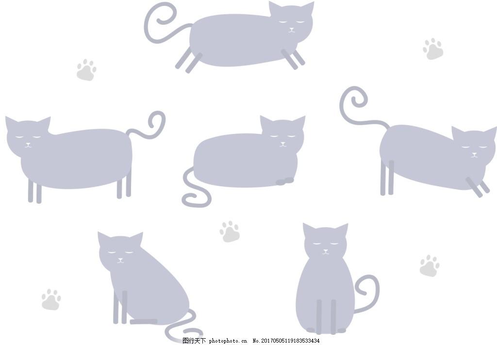 手绘扁平猫咪 手绘猫咪 猫咪 可爱猫咪 动物 手绘动物 矢量素材 动物