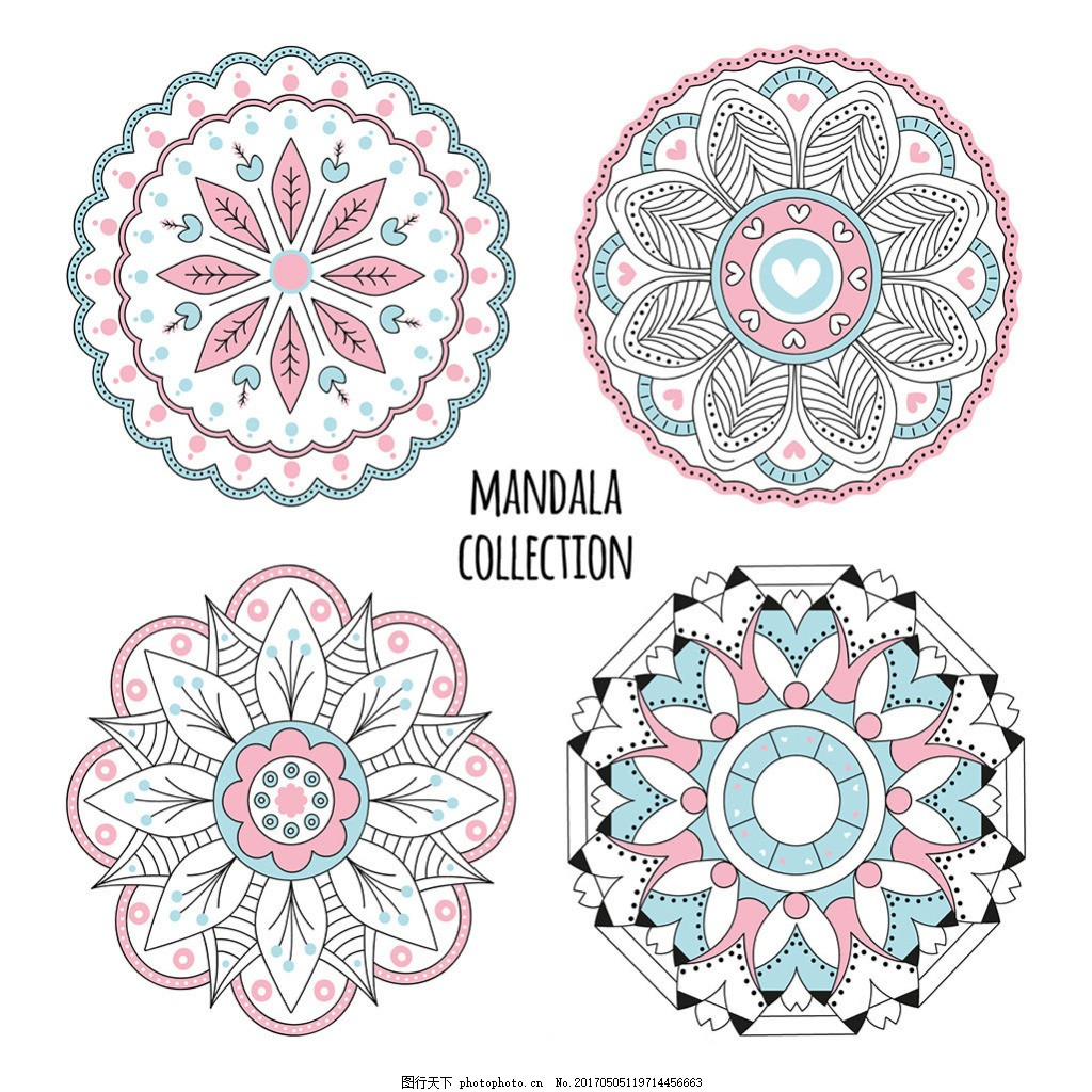 手绘彩色曼陀罗花纹装饰图案