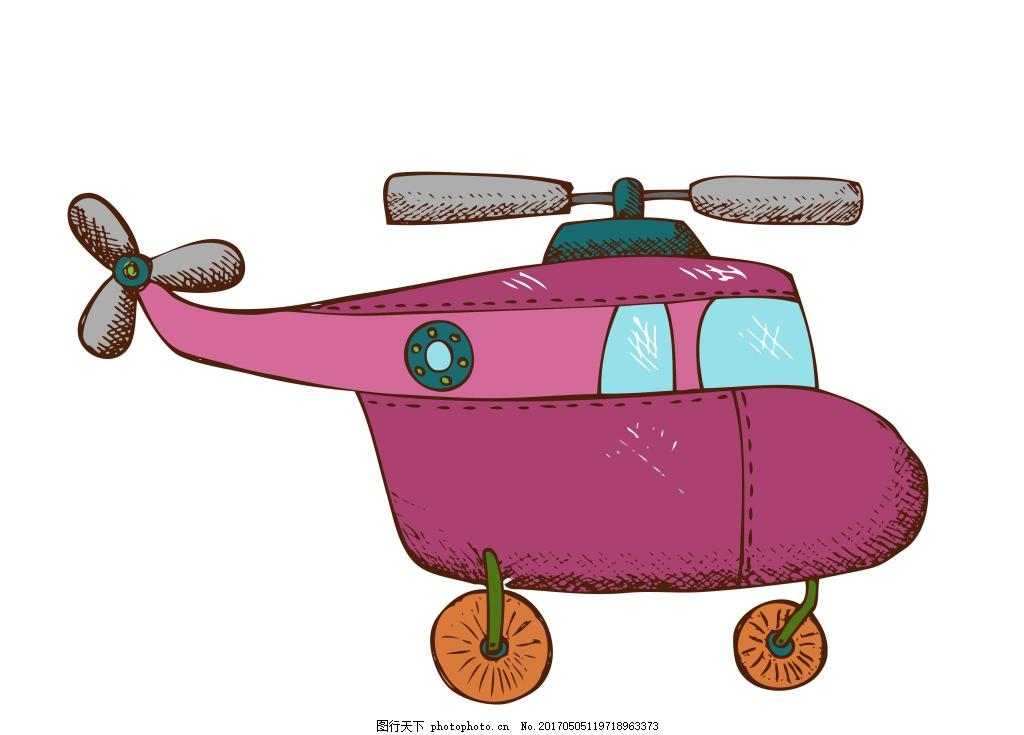 矢量卡通直升机eps 手绘卡通玩具模板下载 生活百科