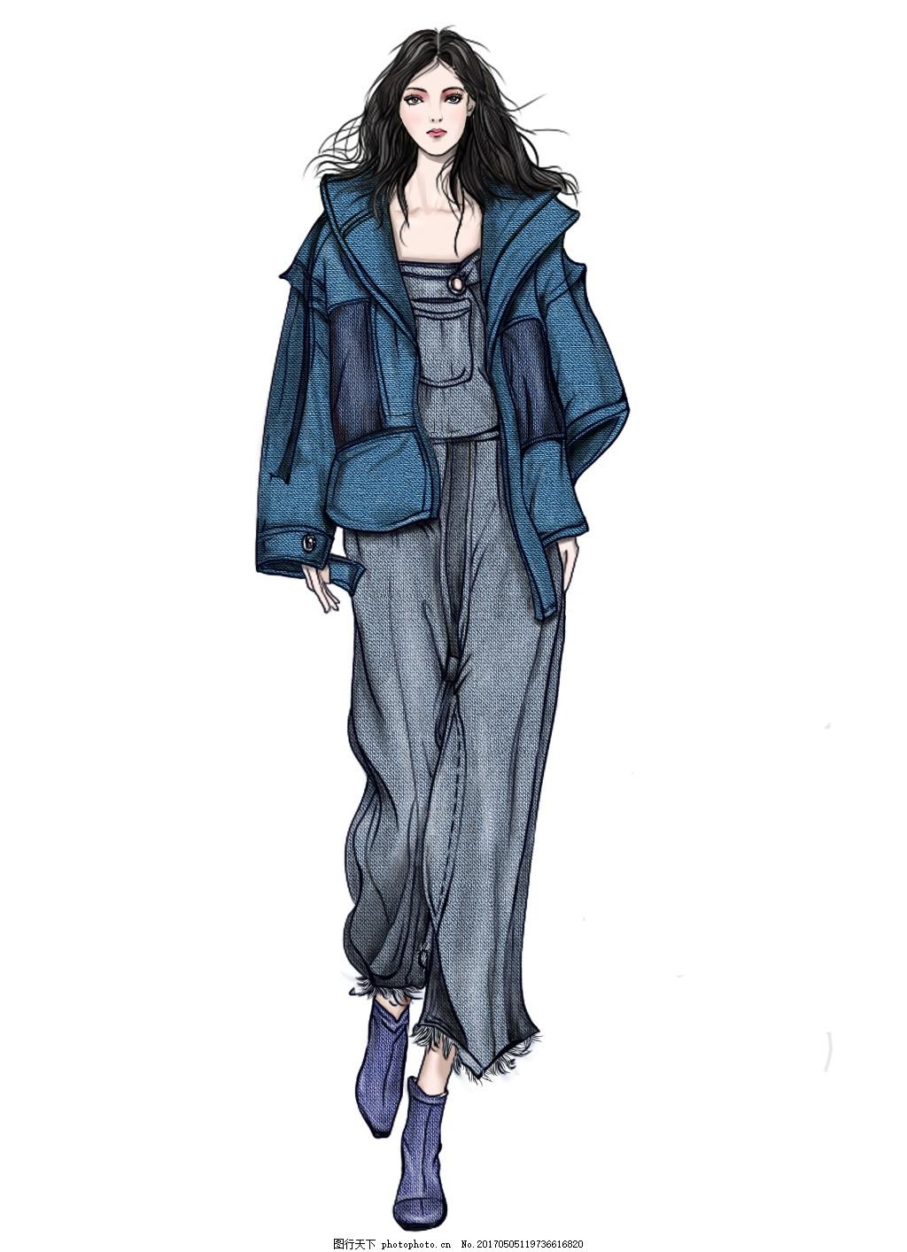 服装效果图 手绘服装效果图 手绘美女图 女装设计