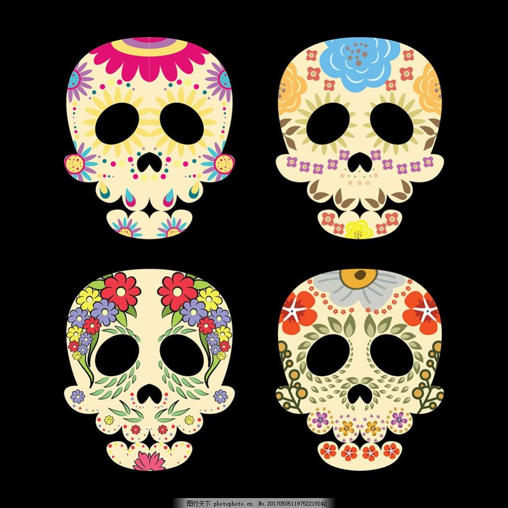 手绘装饰花纹墨西哥头骨骷髅