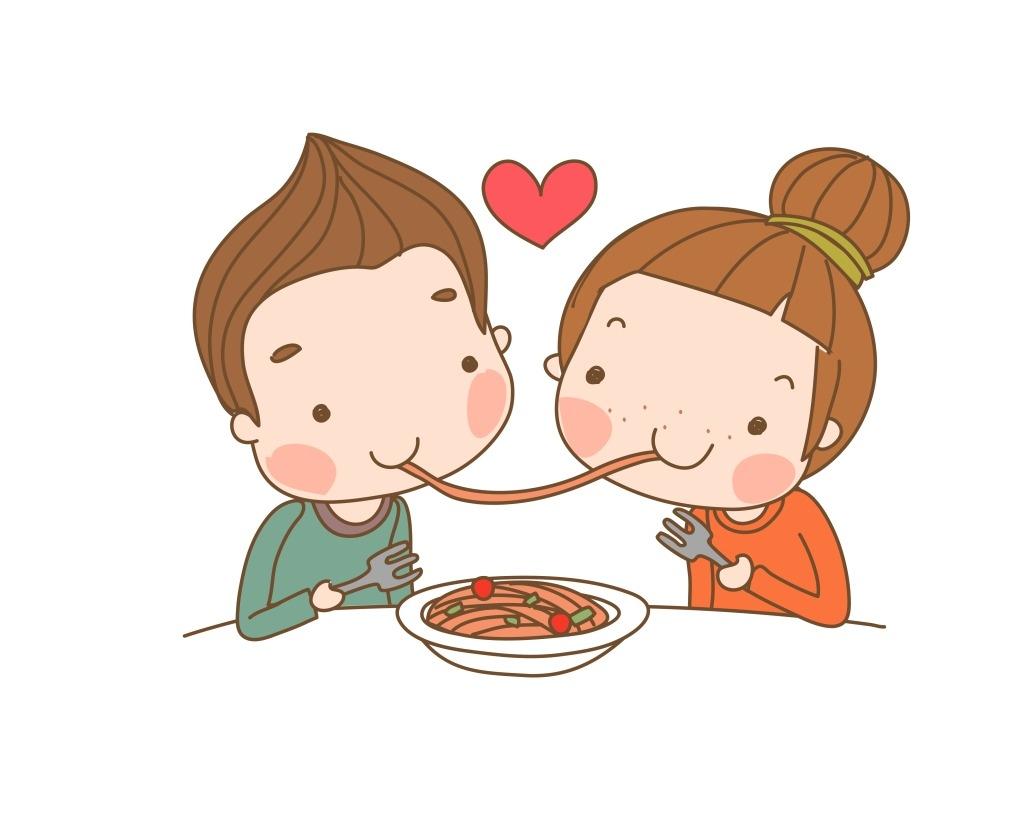 卡通吃面小朋友eps,最新韩国矢量卡通素材模板下载-图