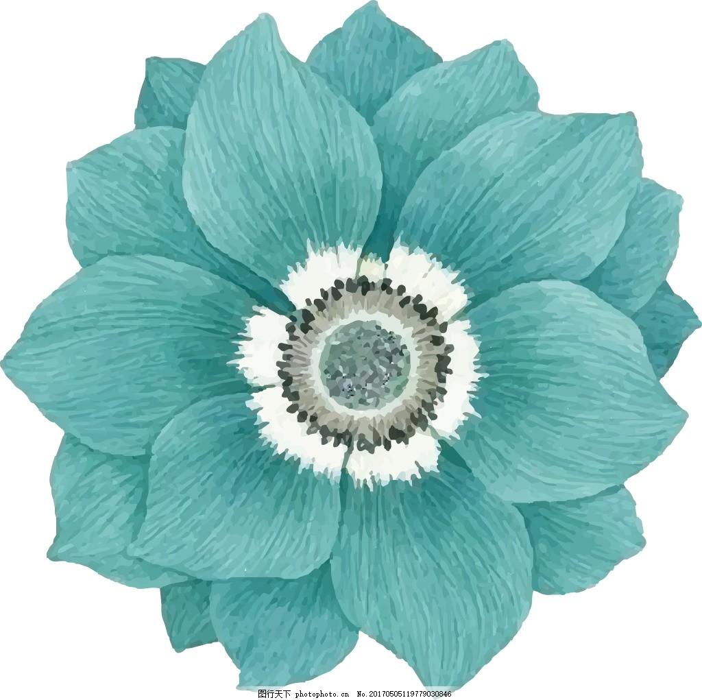 手绘 花朵 婚礼装饰 蓝花 矢量图