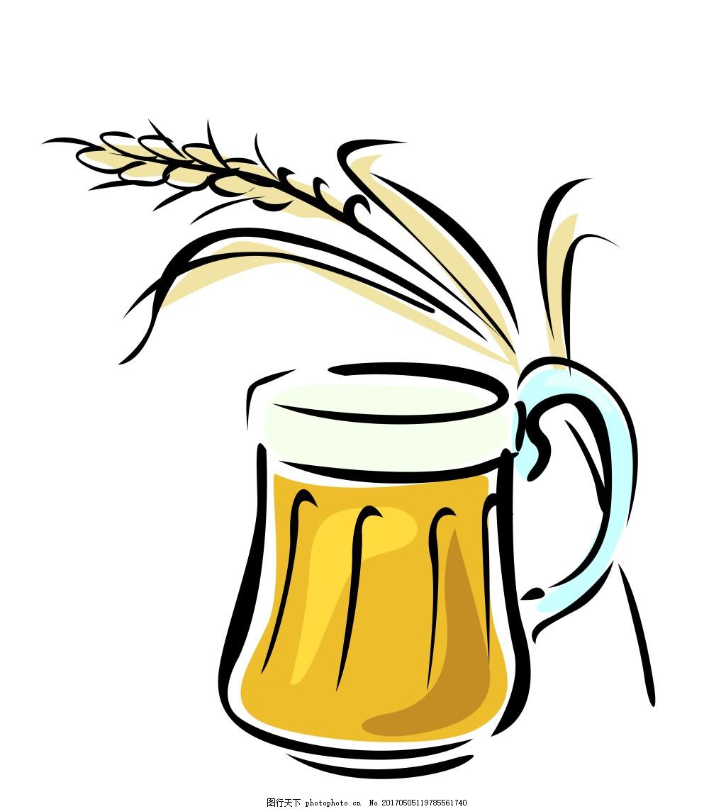 卡通手绘酒水eps 卡通食物酒水模板下载 果汁 啤酒 咖啡 鸡尾酒