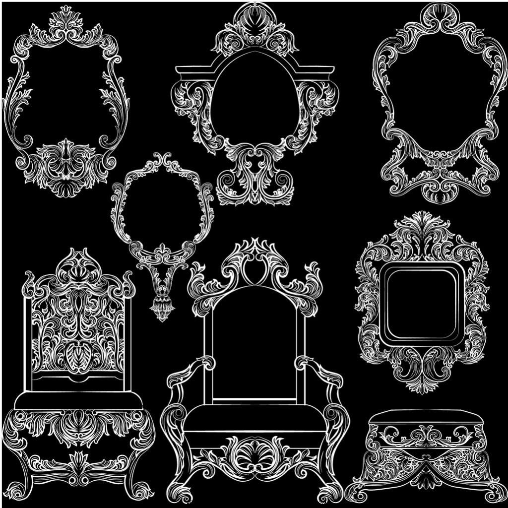 白色复古风格家具系列边框