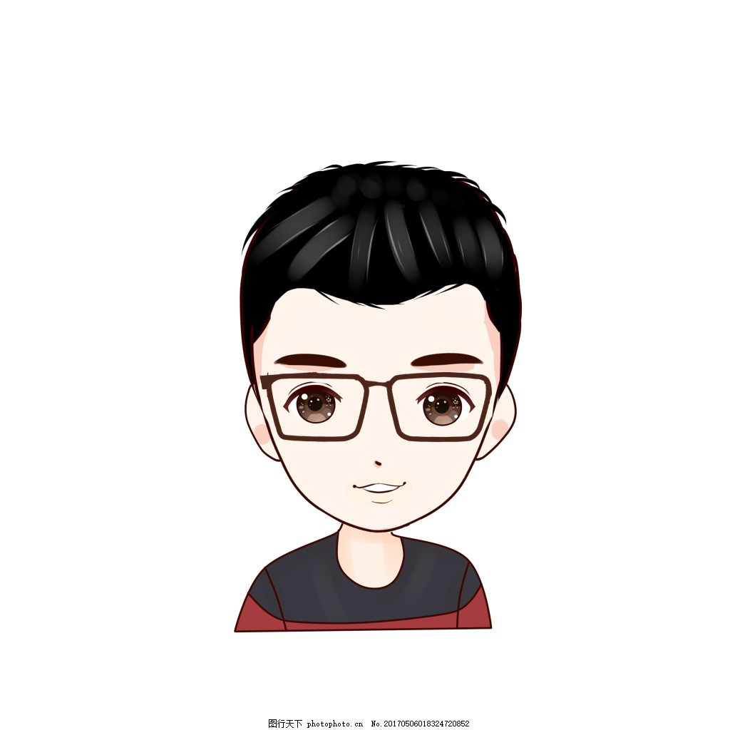 卡通人物 戴眼镜 秀气 帅哥 男孩 青春