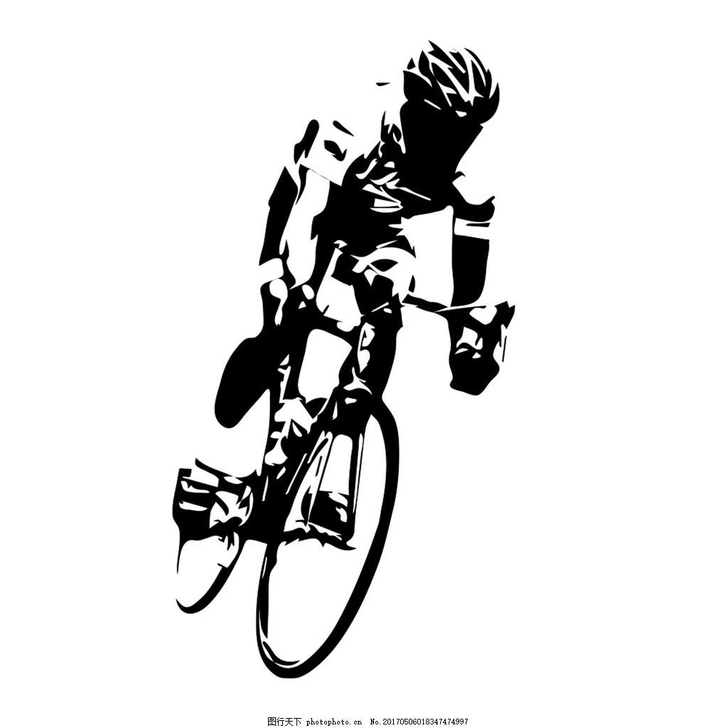 黑白单车男人 脚踏车 自行车 交通工具 运动人物 单车人物 卡通人物
