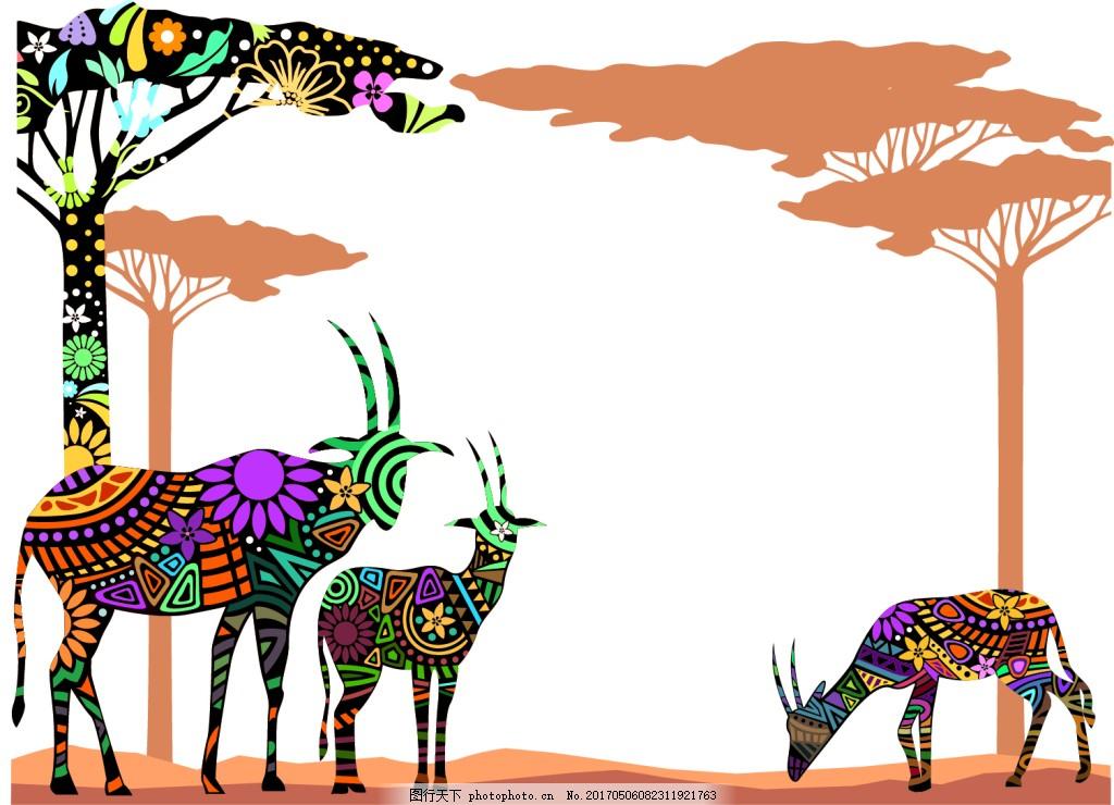 彩色花纹动物边框树木