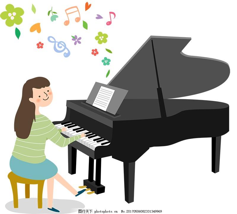 矢量卡通弹钢琴人物
