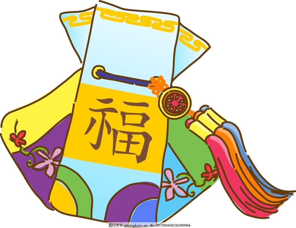 福字香囊元素花纹背景设计