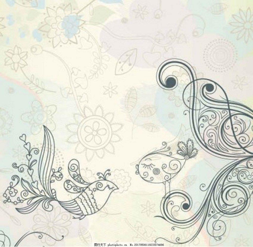 复古手绘鲜花小鸟背景图