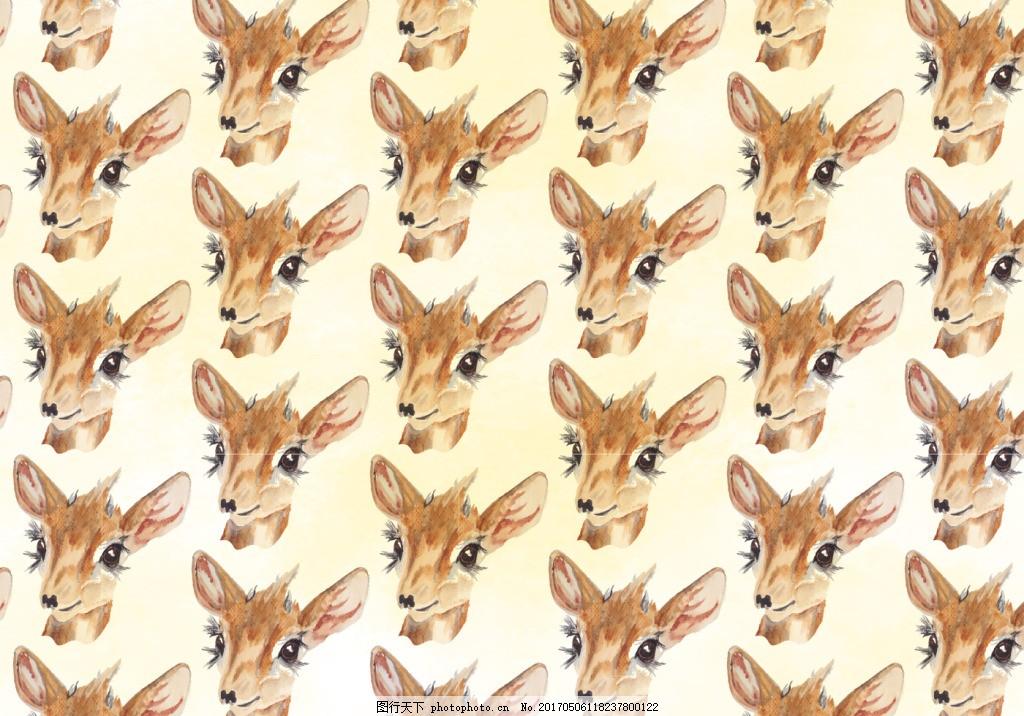 可爱手绘水彩鹿头背景