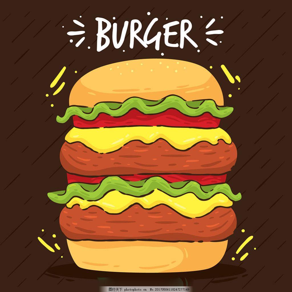 手绘风格多层汉堡背景