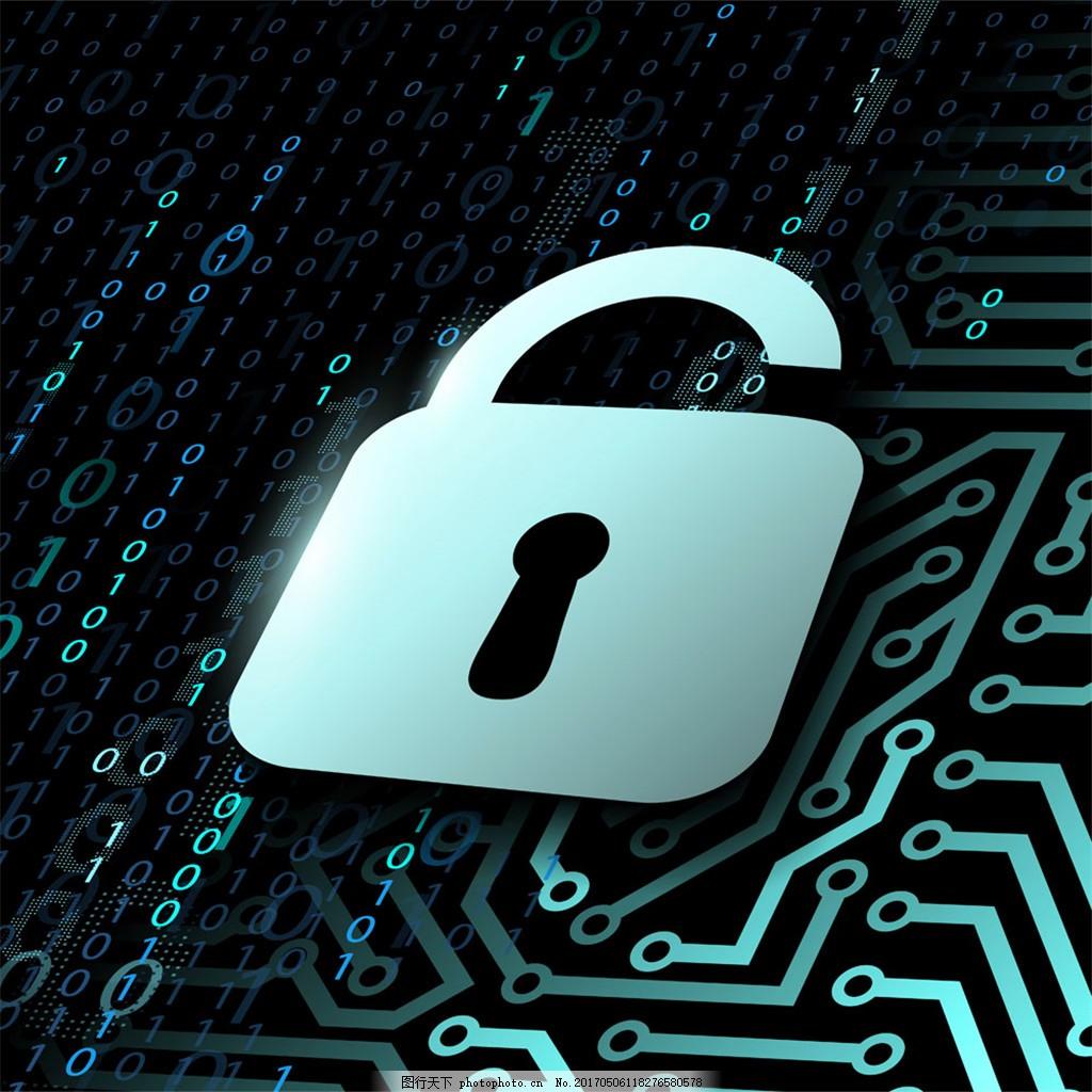 锁与科技背景 电路板 锁 钥匙 数字 科技背景 背景图案 底纹背景 现代