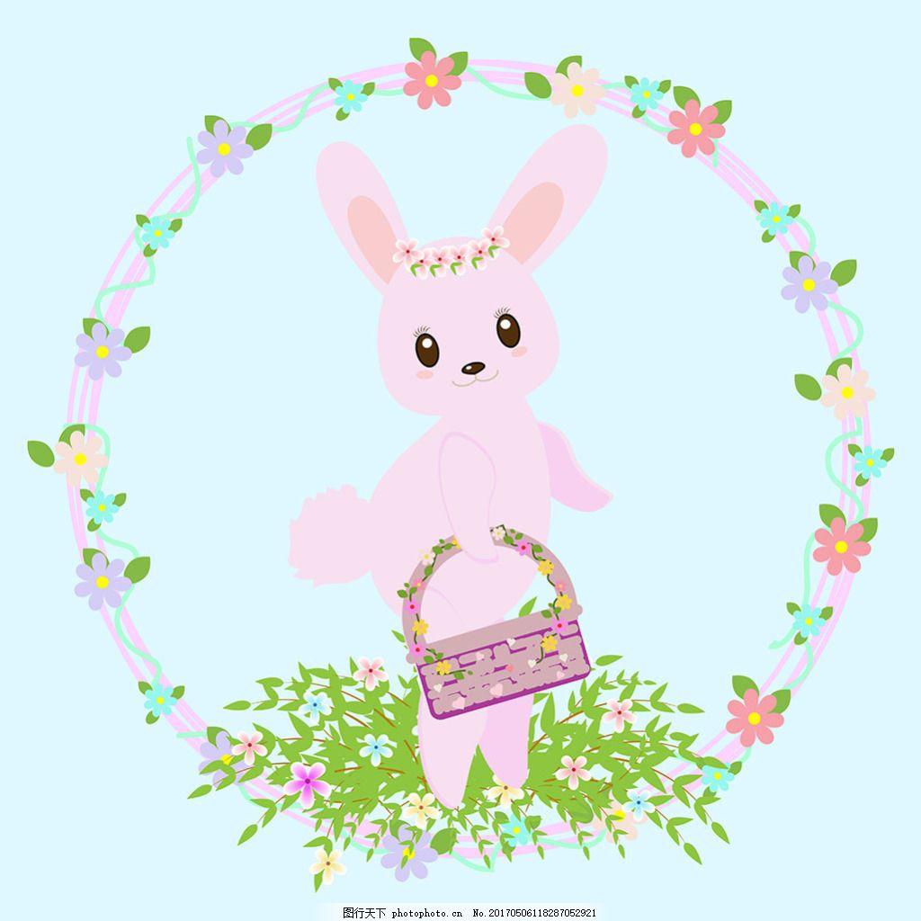 可爱的兔子花边复活节背景
