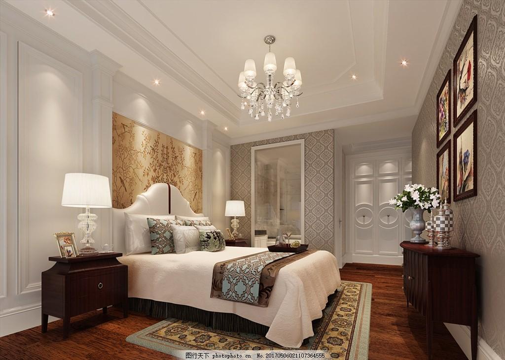 简欧卧室效果图 主人房 欧式 简欧 背景墙 3d效果图 设计 3d设计 3d