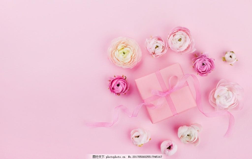 粉色花朵背景 粉花花朵背景 清新 礼盒 花背景 摄影 生活素材图片