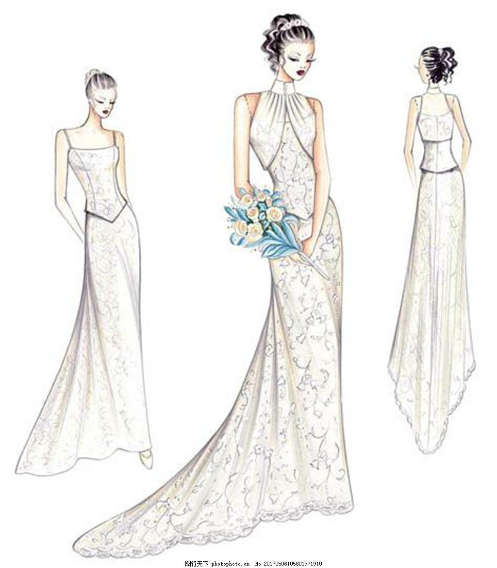 3款碎花婚纱长裙设计图