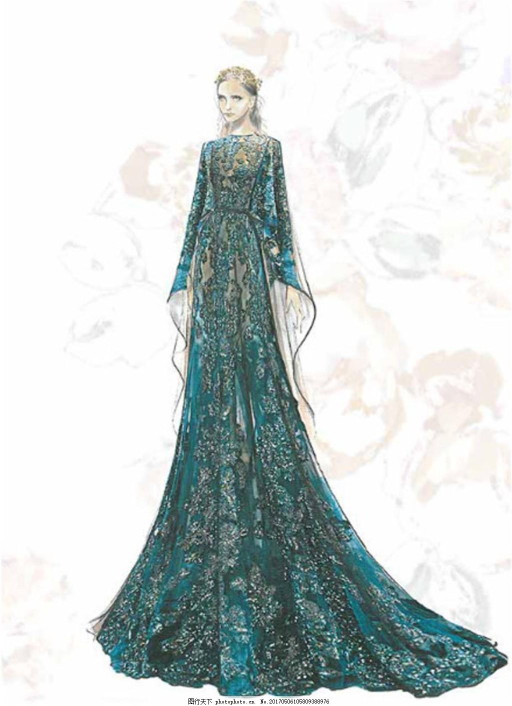 青色长裙礼服设计图