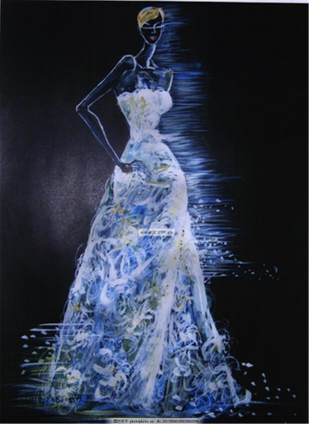 设计图库 现代科技 服装设计  蓝色夜光抹胸礼服设计图 服装设计 时尚